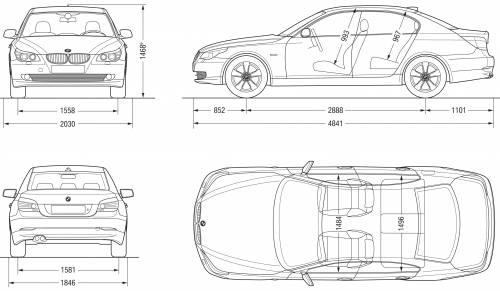 Blueprints > Cars > BMW > BMW 5-Series Sedan (E60) (2007)