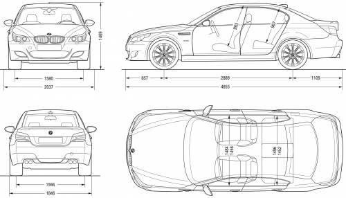 Blueprints > Cars > BMW > BMW M5 Saloon (E60) (2007)