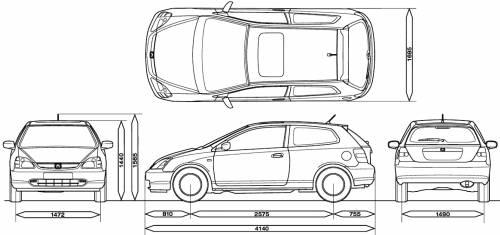 Blueprints > Cars > Honda > Honda Civic 3-Door (2001)