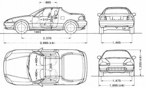Blueprints > Cars > Honda > Honda CRX Del Sol