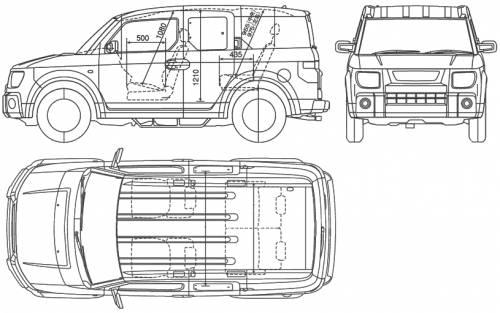 Blueprints > Cars > Honda > Honda Element (2005)