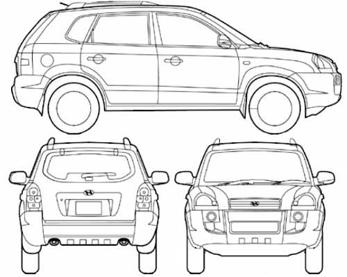 Blueprints > Cars > Hyundai > Hyundai Tucson (2008)