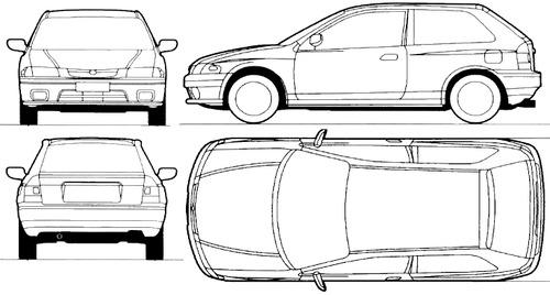 Blueprints > Cars > Mazda > Mazda 323 3-Door (1996)