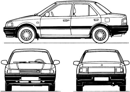 Blueprints > Cars > Mazda > Mazda 323 4-Door (1989)