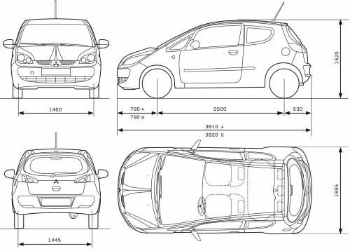 Blueprints > Cars > Mitsubishi > Mitsubishi Colt 3-Door (2007)