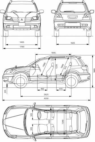 Blueprints > Cars > Mitsubishi > Mitsubishi Outlander (2004)