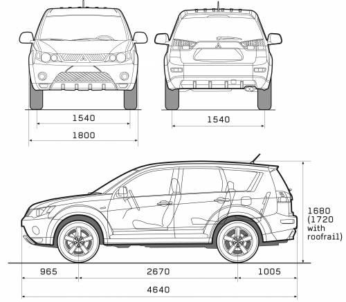 Blueprints > Cars > Mitsubishi > Mitsubishi Outlander (2008)