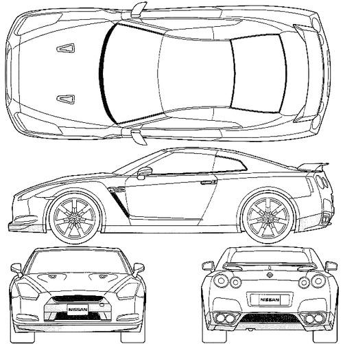 Blueprints > Cars > Nissan > Nissan GT-R R35 (2008)