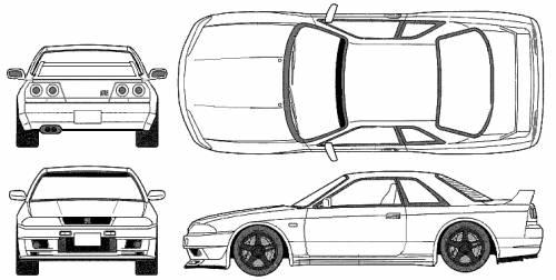 Blueprints > Cars > Nissan > Nissan Skyline GT-R R33 V