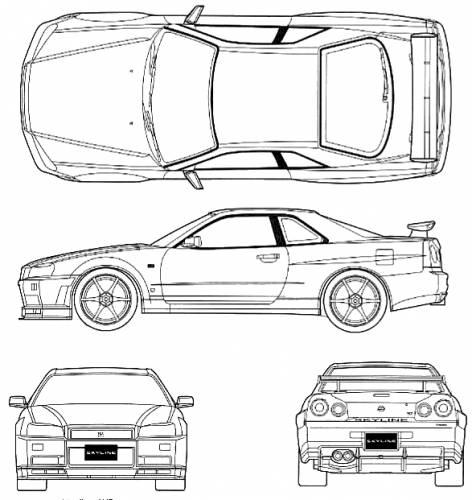 Blueprints > Cars > Nissan > Nissan Skyline GT-R R34 V-Spec
