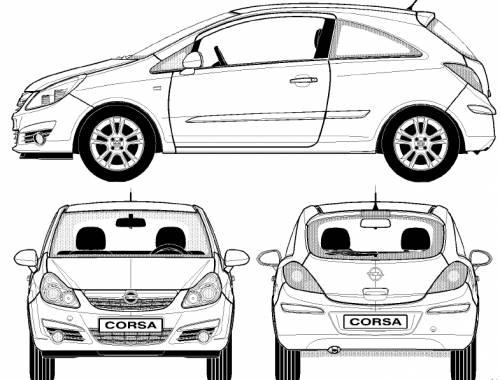 Blueprints > Cars > Opel > Opel Corsa 3-Door (2007)
