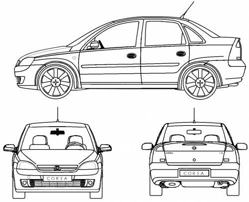Blueprints > Cars > Opel > Opel Corsa C Sedan