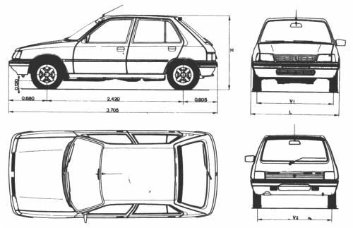 Blueprints > Cars > Peugeot > Peugeot 205 5-Door