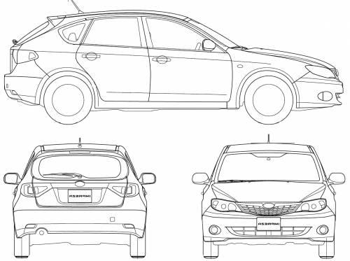 Blueprints > Cars > Subaru > Subaru Impreza 5-door (2008)