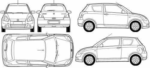 Blueprints > Cars > Suzuki > Suzuki Swift 3-Door (2007)