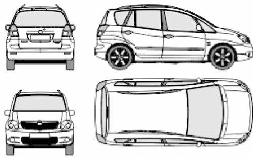 Blueprints > Cars > Toyota > Toyota Corolla Verso (2006)