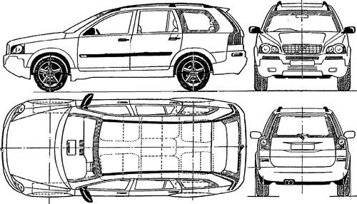Blueprints > Cars > Volvo > Volvo XC90 (2004)