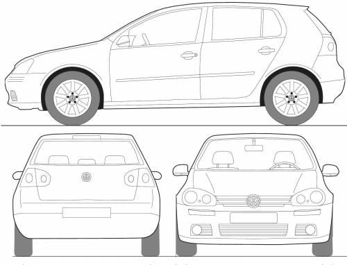 Blueprints > Cars > Volkswagen > Volkswagen Golf 5-Door (2008)