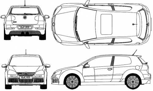 Blueprints > Cars > Volkswagen > Volkswagen Golf R32 (2007)