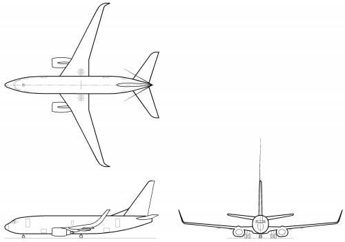 Blueprints > Modern airplanes > Boeing > Boeing 737-700w