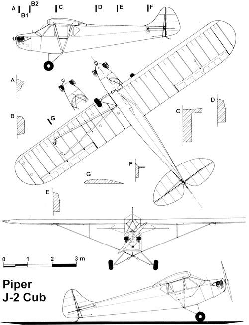 Blueprints > Modern airplanes > Piper > Piper Cub J-2