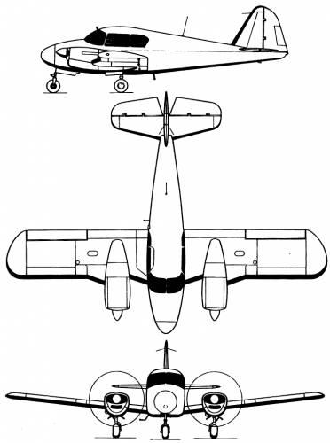 Blueprints > Modern airplanes > Piper > Piper Pa-23 Apache