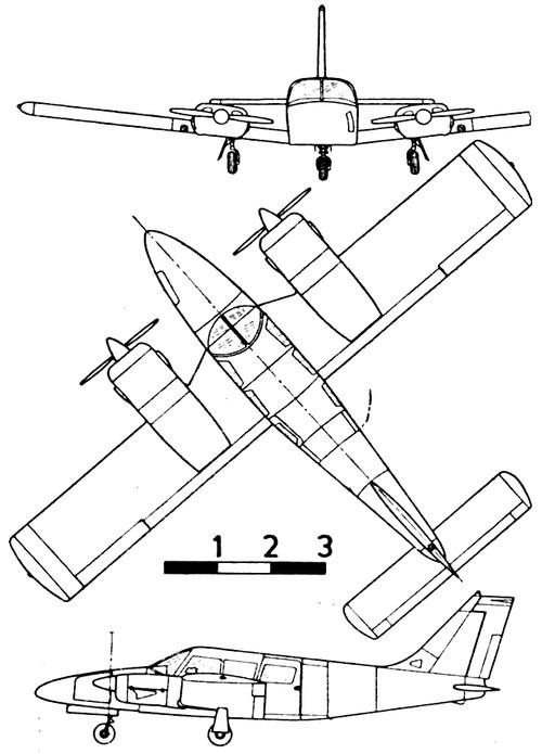 Blueprints > Modern airplanes > Piper > Piper PA-34 Seneca