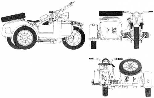 Blueprints > Motorcycles > BMW > BMW R75 M Sidecar