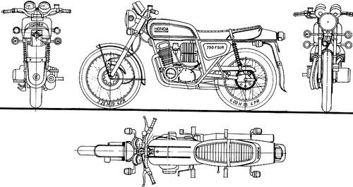 Blueprints > Motorcycles > Honda > Honda CB 750 F (1975)