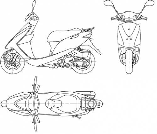 Blueprints > Motorcycles > Honda > Honda Dio (2006)
