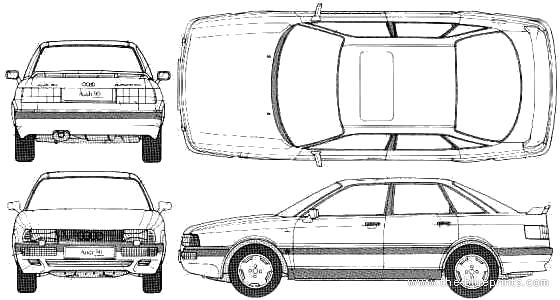 Blueprints > Cars > Audi > Audi 90 Quattro 20V (1989)
