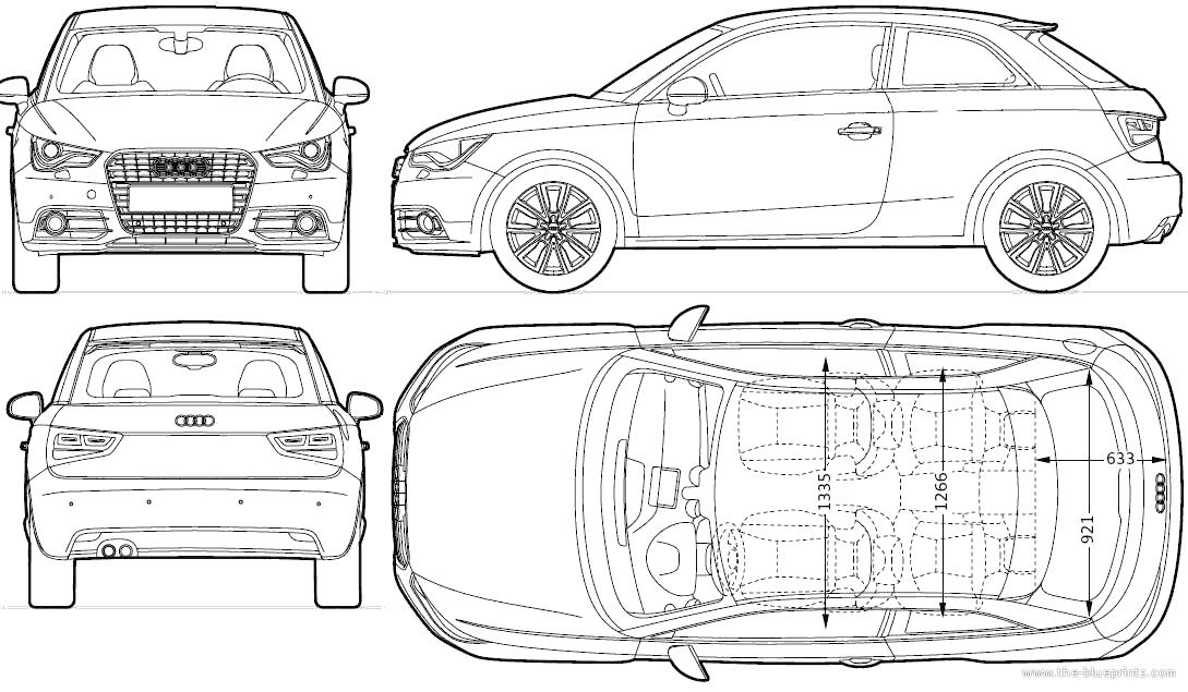 Blueprints > Cars > Audi > Audi A1 3-Door (2010)