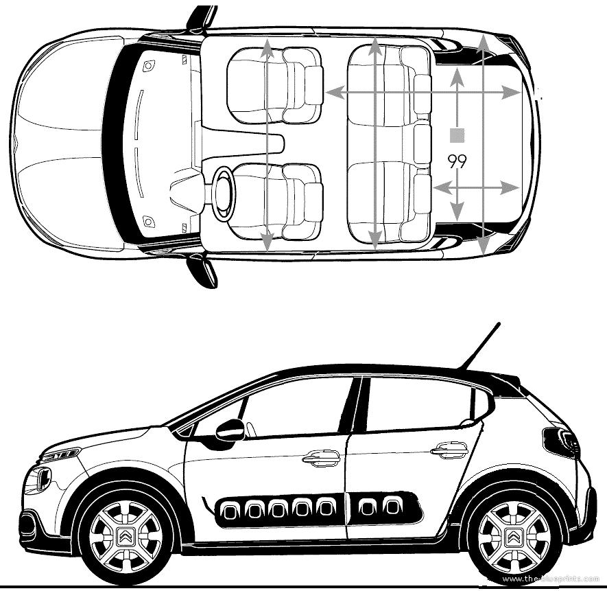 Blueprints > Cars > Citroen > Citroen C3 (2016)