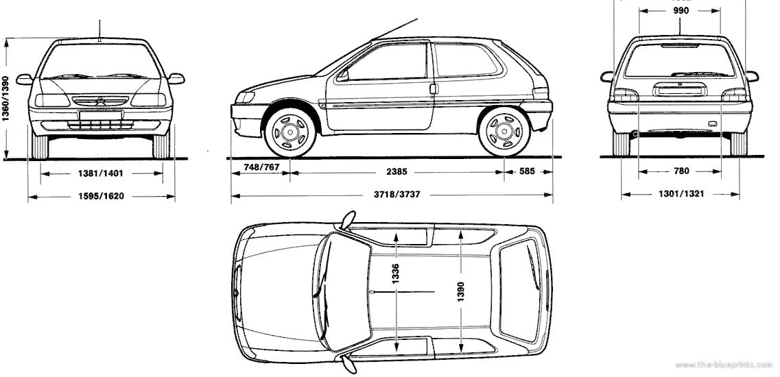 Blueprints > Cars > Citroen > Citroen Saxo (1999)