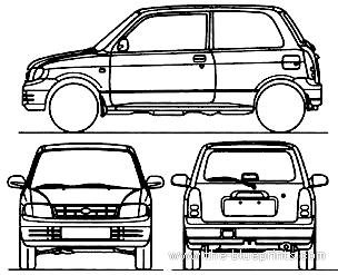 Blueprints > Cars > Daihatsu > Daihatsu Cuore 3-Door (1995)