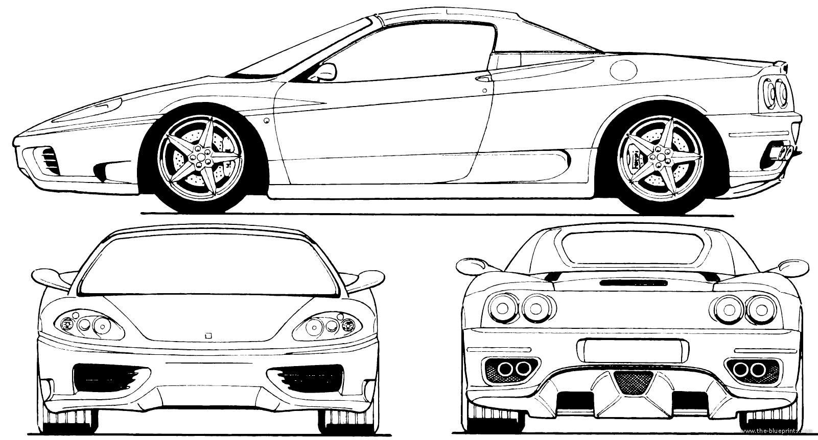 Blueprints > Cars > Ferrari > Ferrari 360 Spider (2000)