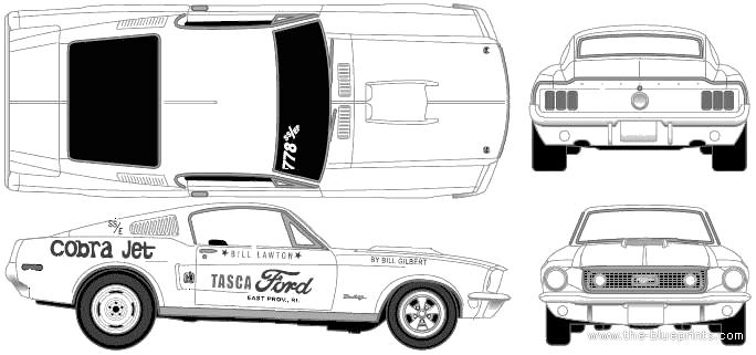 Blueprints > Cars > Ford > Ford Mustang GT Cobra Jet (1968)
