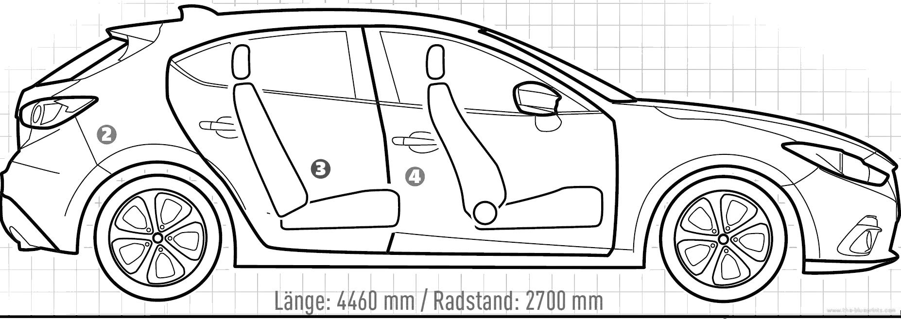 Blueprints > Cars > Mazda > Mazda 3 Mk.III (2013)