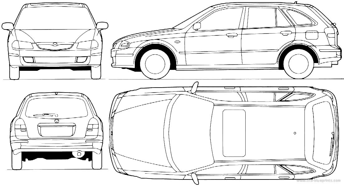 Blueprints > Cars > Mazda > Mazda 323F Lantis (1998)