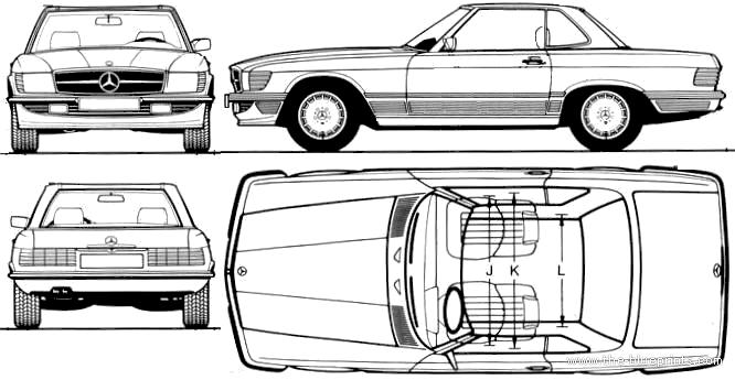 Blueprints > Cars > Mercedes-Benz > Mercedes-Benz 500SL (1987)
