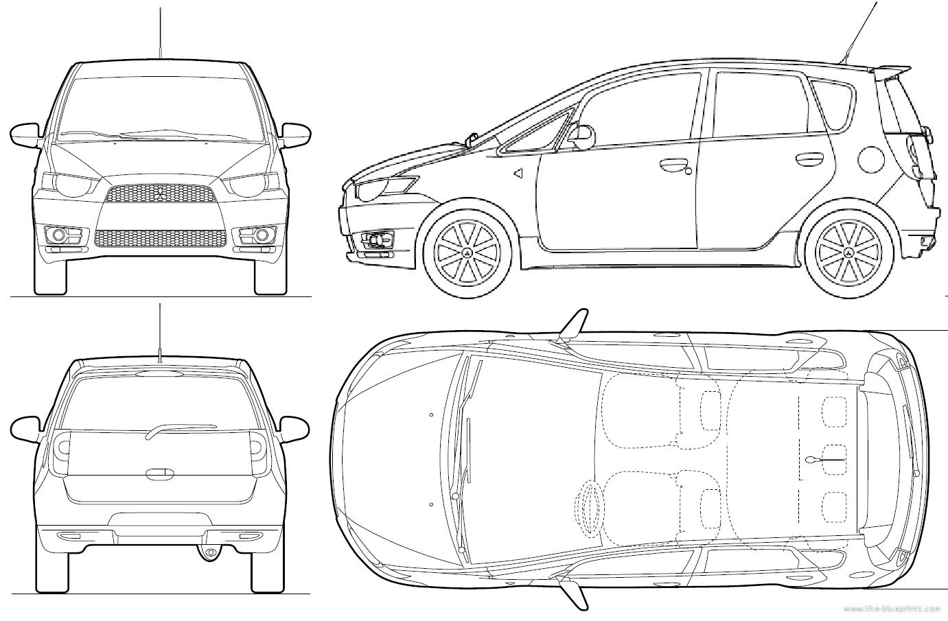 Blueprints > Cars > Mitsubishi > Mitsubishi Colt 5-Door (2010)