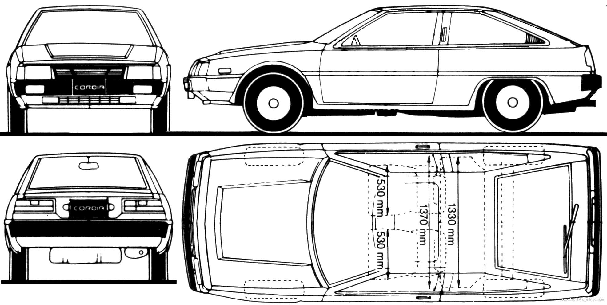 Blueprints > Cars > Mitsubishi > Mitsubishi Cordia (1985)