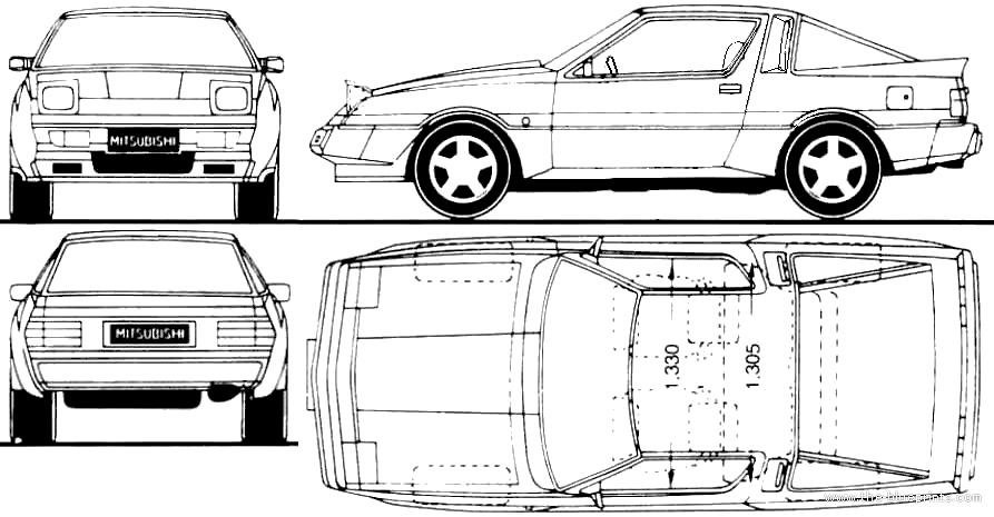 Blueprints > Cars > Mitsubishi > Mitsubishi Starion (1988)