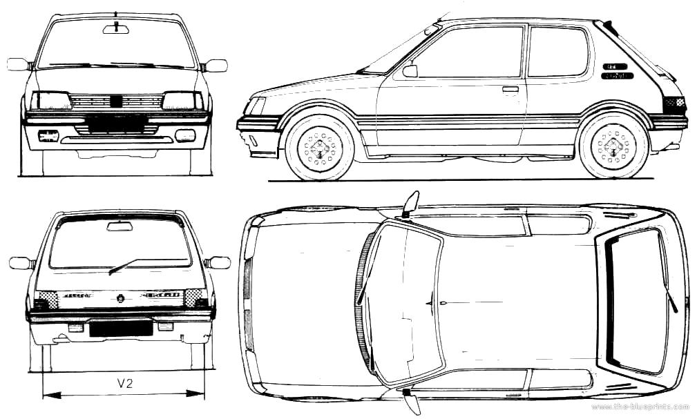 Blueprints > Cars > Peugeot > Peugeot 205 GTi 1.9 (1991)