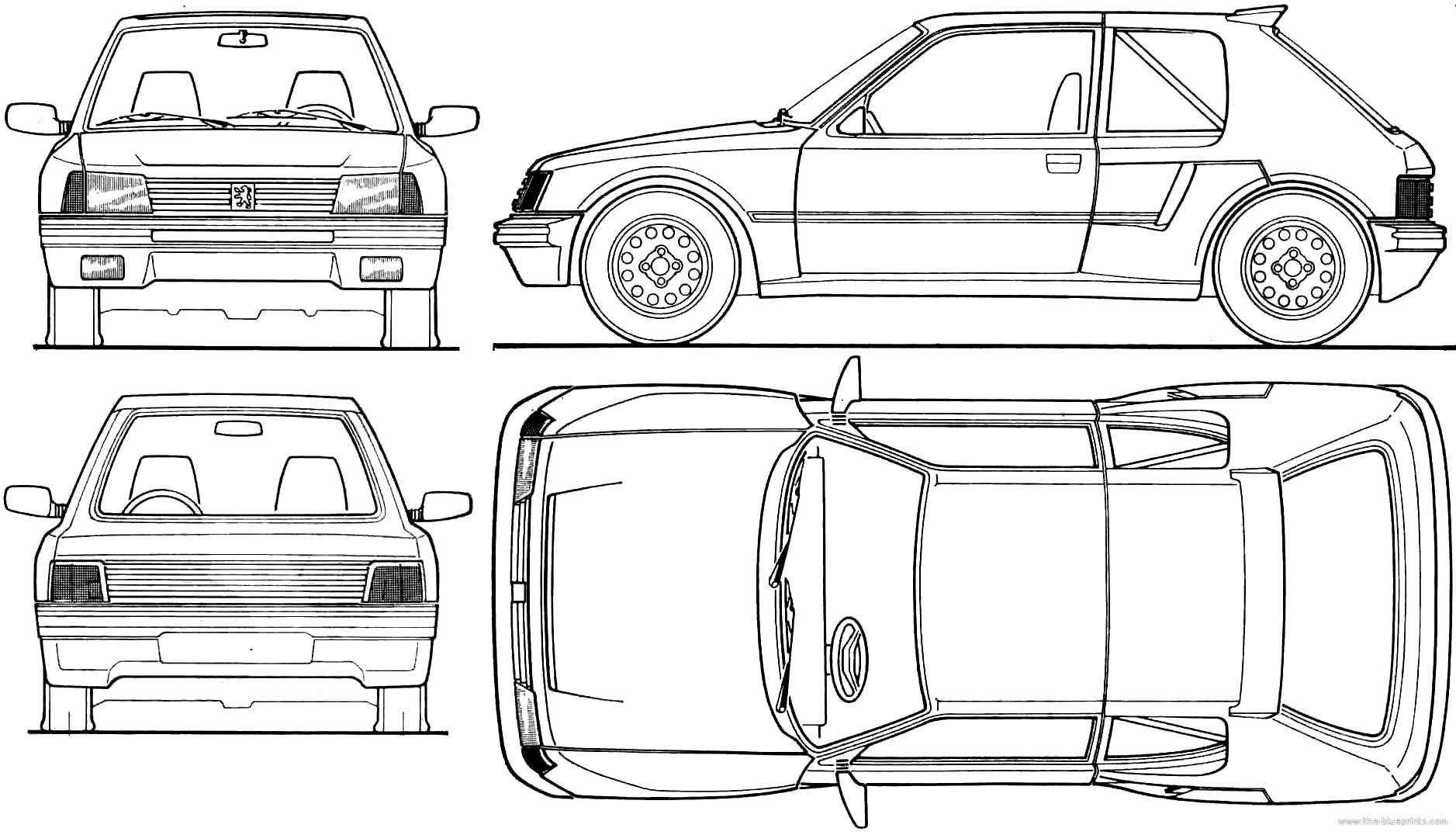 Blueprints > Cars > Peugeot > Peugeot 205 T16 (1985)