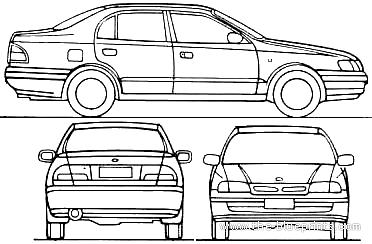 Blueprints > Cars > Toyota > Toyota Carina E 4-Door (1997)