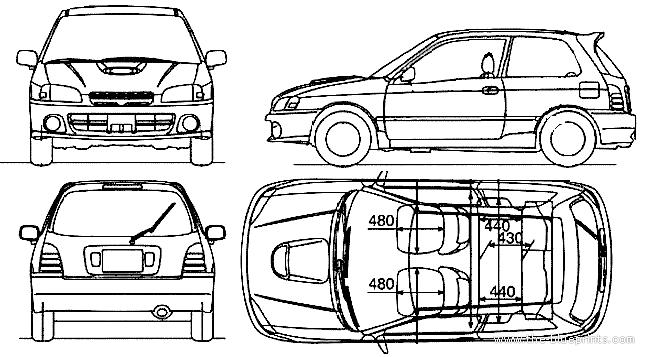 Blueprints > Cars > Toyota > Toyota Starlet 3-Door (1998)