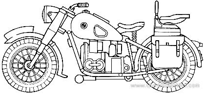 Blueprints > Motorcycles > BMW > BMW R75 (1942)