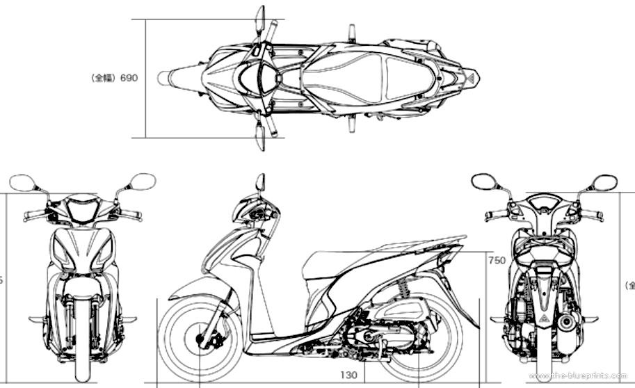 Blueprints > Motorcycles > Honda > Honda Dio 110 (2015)