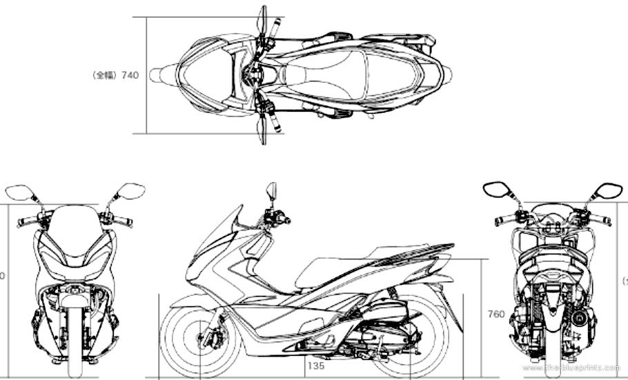 Blueprints > Motorcycles > Honda > Honda PCX 150 (2015)